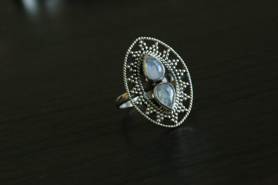 925 Sterling Silver Moonstone Ring, US 9 - AristaBeads Jewelry - 2