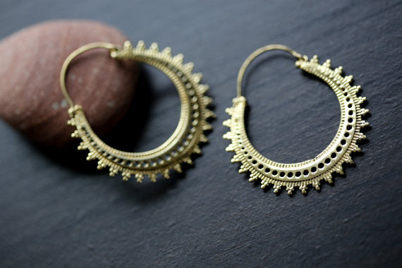 Tribal brass hoop earrings - AristaBeads Jewelry - 2