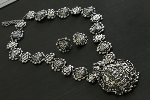 Silver Look Lakshmi Necklace - Ruby