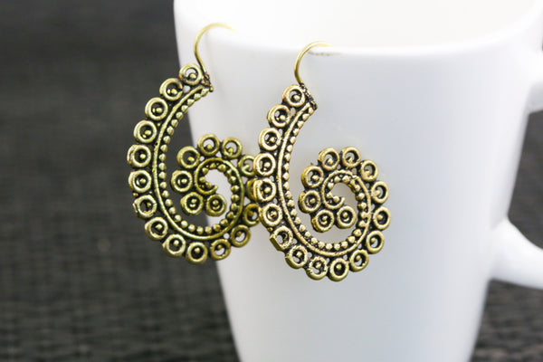 Tribal brass hook earrings - AristaBeads Jewelry  - 2