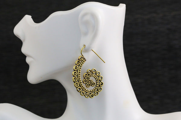 Tribal brass hook earrings - AristaBeads Jewelry  - 1