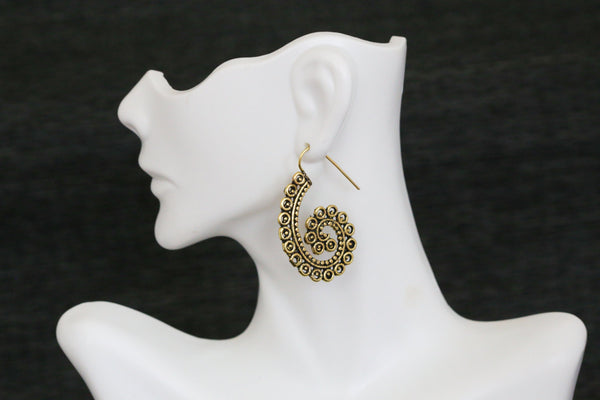 Tribal brass hook earrings - AristaBeads Jewelry  - 4
