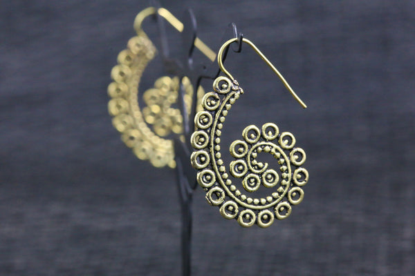 Tribal brass hook earrings - AristaBeads Jewelry  - 3