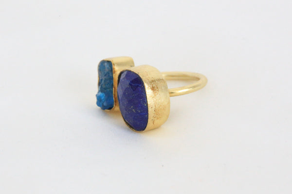 Lapis lazuli and apatite stone designer ring - AristaBeads Jewelry - 3