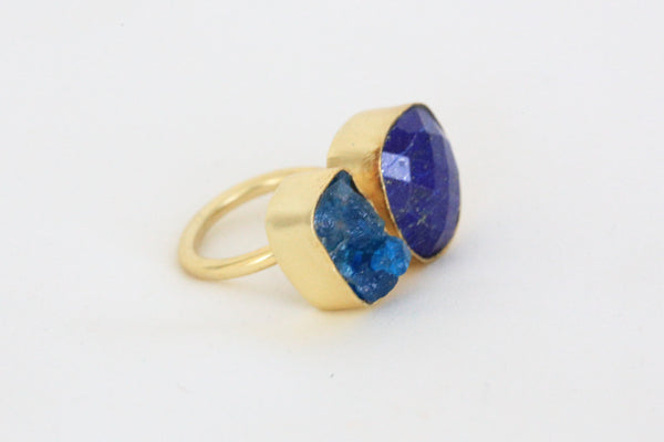 Lapis lazuli and apatite stone designer ring - AristaBeads Jewelry - 2