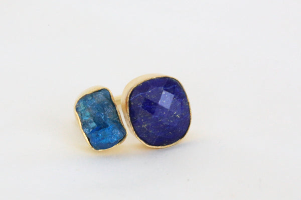 Lapis lazuli and apatite stone designer ring - AristaBeads Jewelry - 4
