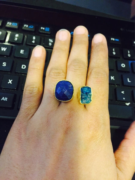 Lapis lazuli and apatite stone designer ring - AristaBeads Jewelry - 5