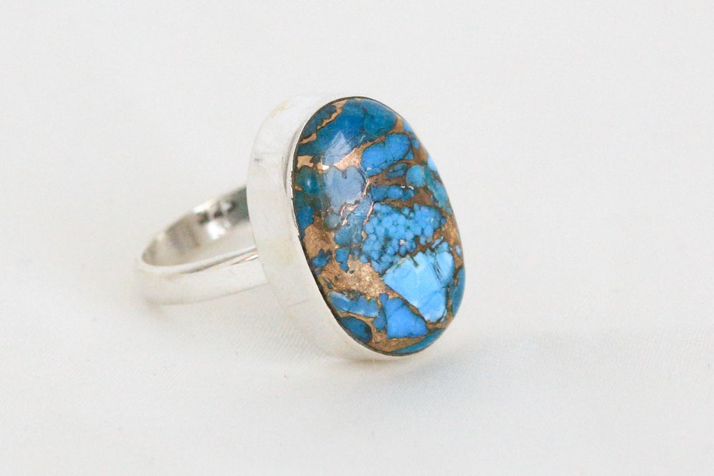 Blue Copper Turquoise Ring in 925 Sterling Silver - AristaBeads Jewelry - 1
