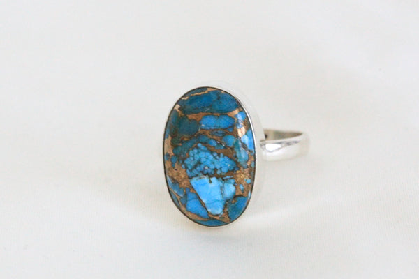 Blue Copper Turquoise Ring in 925 Sterling Silver - AristaBeads Jewelry - 3