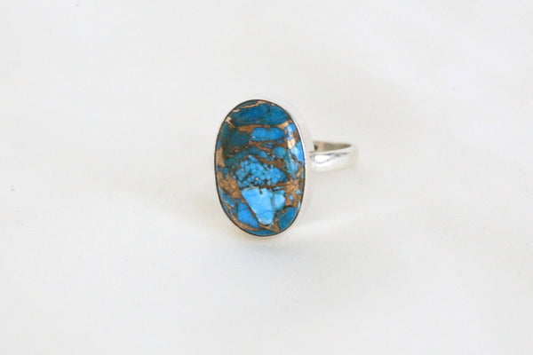 Blue Copper Turquoise Ring in 925 Sterling Silver - AristaBeads Jewelry - 2