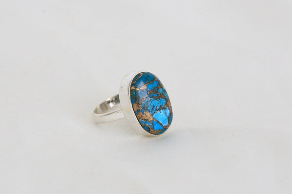 Blue Copper Turquoise Ring in 925 Sterling Silver - AristaBeads Jewelry - 4