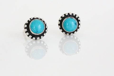Cute Turquoise Studs in 925 Silver - AristaBeads Jewelry - 1