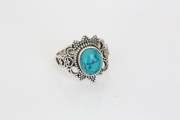 Designer Turquoise Ring in 925 Silver - AristaBeads Jewelry - 3