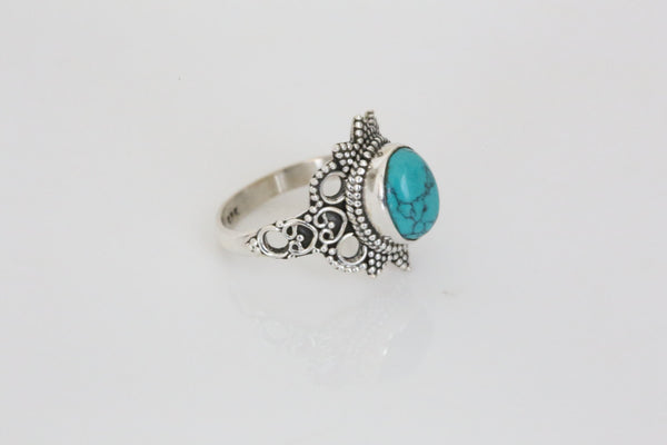Designer Turquoise Ring in 925 Silver - AristaBeads Jewelry - 4