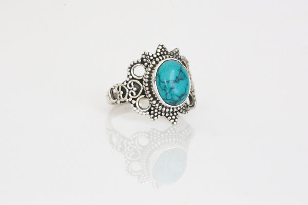 Designer Turquoise Ring in 925 Silver - AristaBeads Jewelry - 1