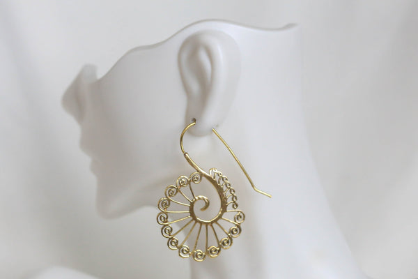 Tribal Brass Peacock Earrings  -Gold and Silver - AristaBeads Jewelry - 2