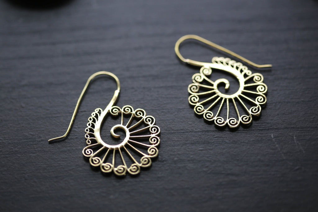 Tribal Brass Peacock Earrings  -Gold and Silver - AristaBeads Jewelry - 1