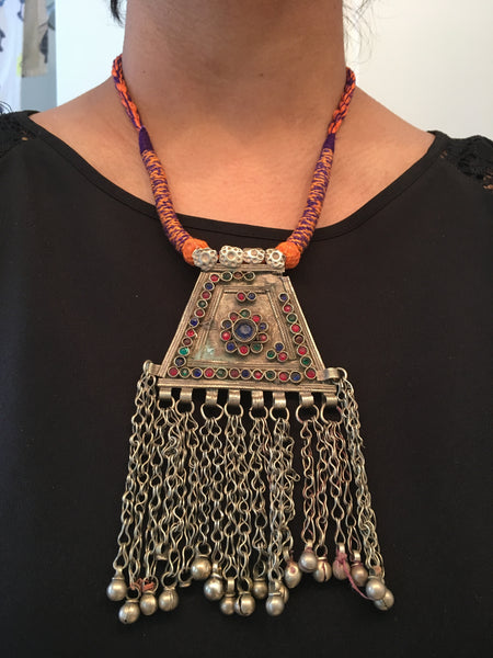 Vintage Tribal Necklace - Orange Tassel