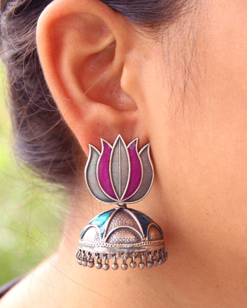 Purple & Blue Lotus Enamel Earrings