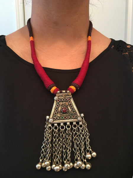 Vintage Tribal Necklace - Maroon Tassel