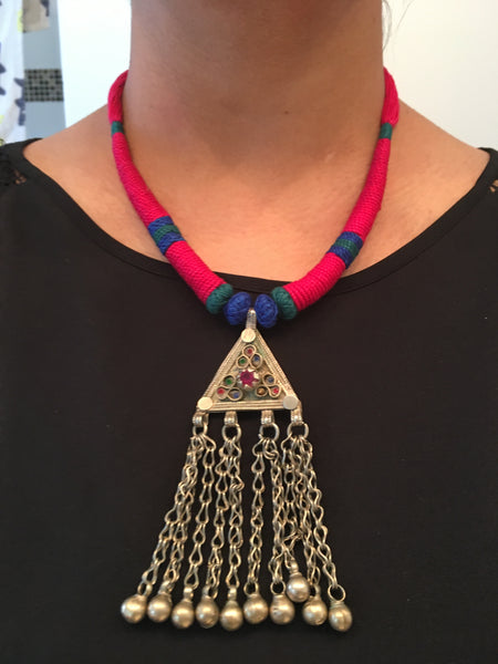 Vintage Tribal Necklace - Multicolor Tassel