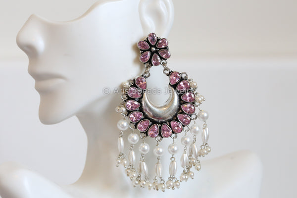 Oxidized Pink Chandbaali