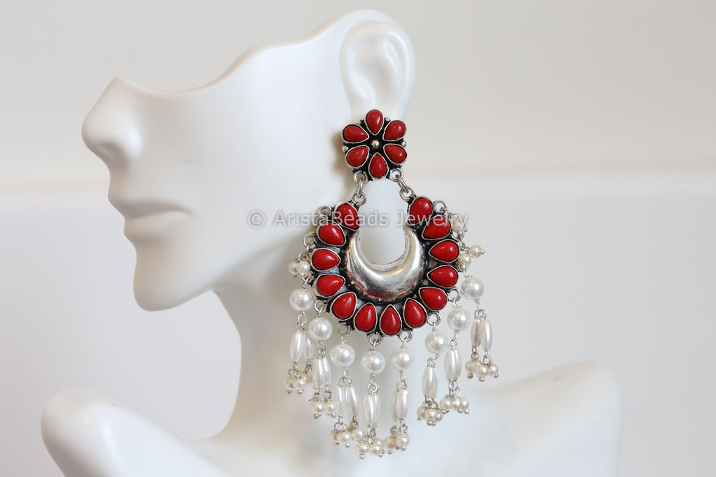 Oxidized Coral Red Chandbaali