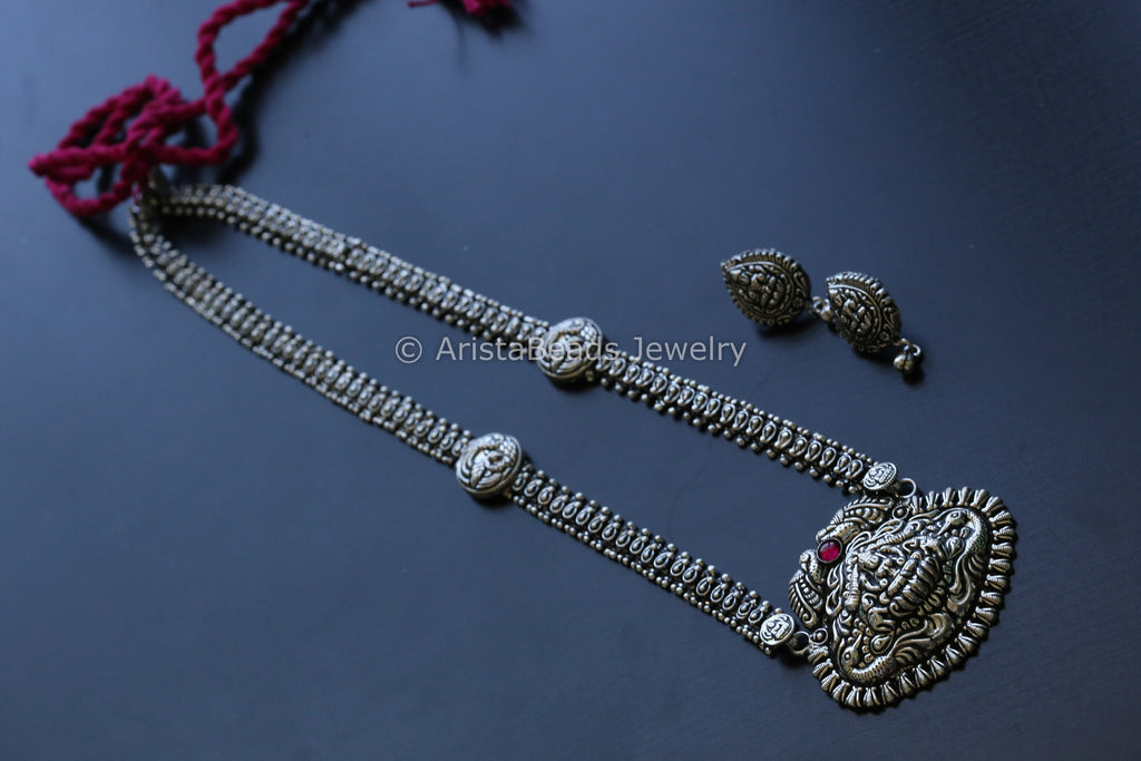 Long Lakshmi Oxidized Temple Necklace