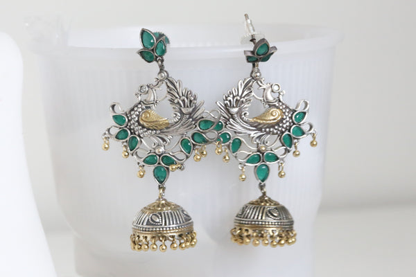 Long Dual Tone Emerald Peacock Jhumka