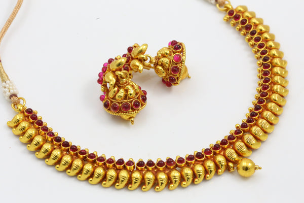 Ruby Mango Temple Necklace