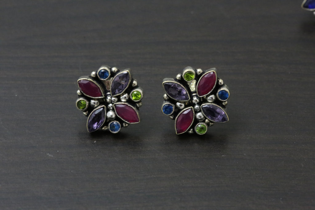 Cute Purple Ruby Studs