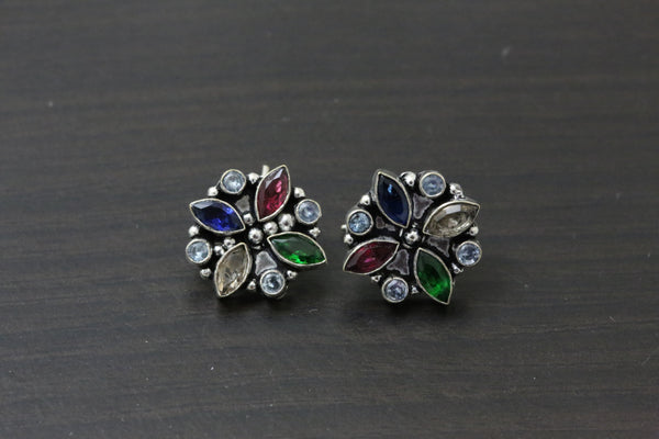 Cute Green Ruby Blue CZ Studs