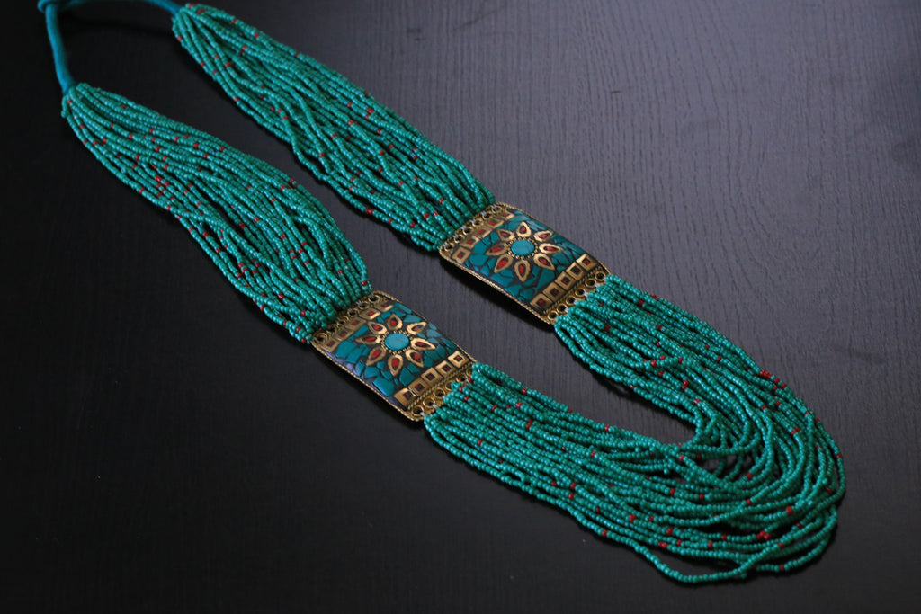 Turquoise coral tibetan necklace - AristaBeads Jewelry - 1