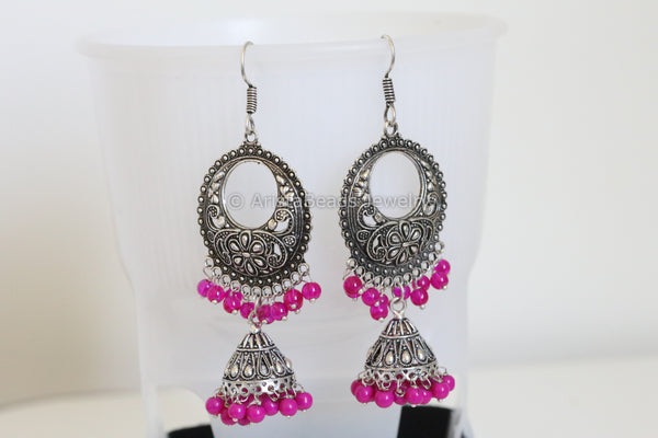 2 Layer Chandbali Jhumka - Pink