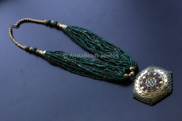 Green Turquoise Tibetan Necklace