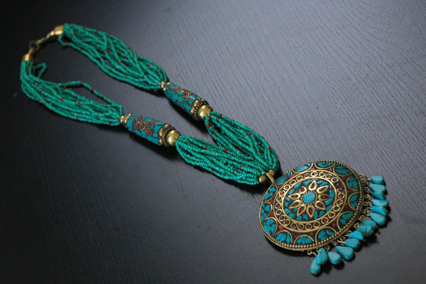 Turquoise seed beads tibetan necklace - AristaBeads Jewelry - 3