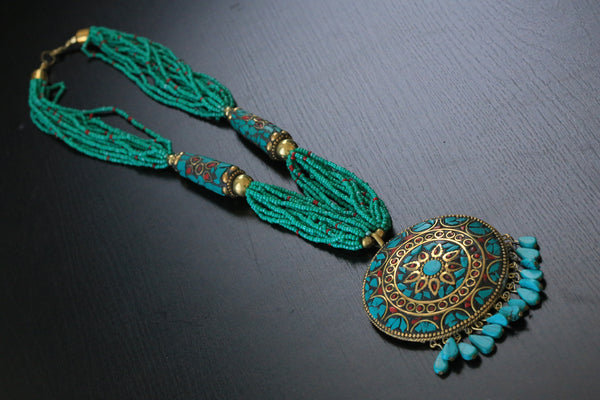 Turquoise seed beads tibetan necklace - AristaBeads Jewelry - 4