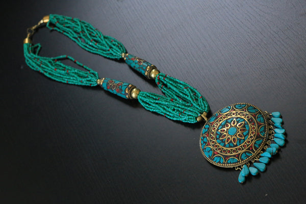 Turquoise seed beads tibetan necklace - AristaBeads Jewelry - 5