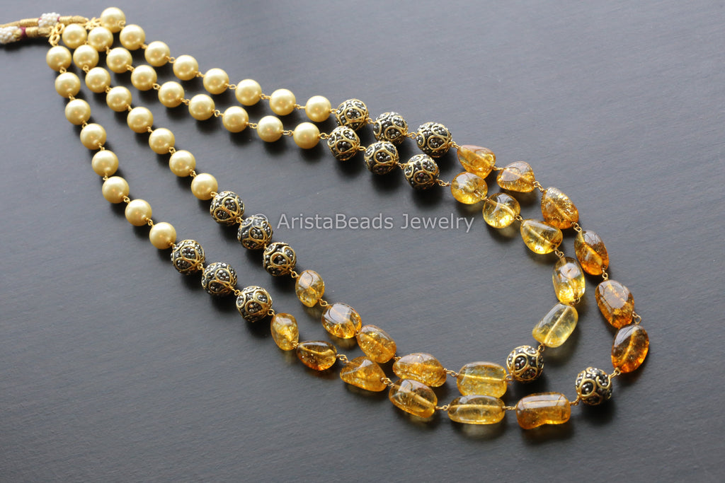 Contemporary Layered Beaded Necklace -Yellow