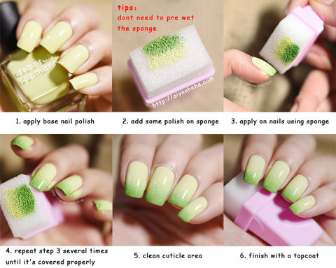 Diy Polish Nail Art Stamping Sponge Stamper With 5pcs Changeable
