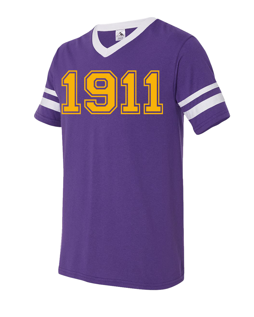 Omega Psi Phi 1911 Stripe Tee - Letters Greek Apparel-Black Greek Paraphernalia-Divine Nine Apparel