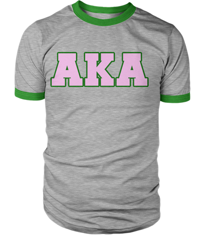 Alpha Kappa Alpha Greek Letter Heather Ringer - Letters Greek Apparel - Black Greek Paraphernalia - Divine Nine Greek Apparel - Atlanta Greek Store