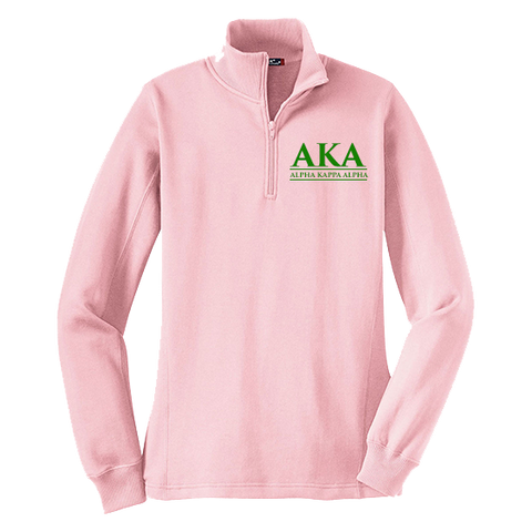 Alpha Kappa Alpha Embroidered Quarter-zip Sweatshirt - Letters Greek Apparel - Black Greek Paraphernalia - Divine Nine Greek Apparel