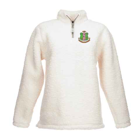 Alpha Kappa Alpha Embroidered Quarter-zip Sherpa Sweater - Letters Greek Apparel - Black Greek Paraphernalia - Divine Nine Greek Apparel - Atlanta Greek Store
