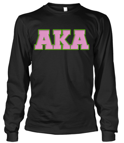 Alpha Kappa Alpha Greek Letter Long Sleeve - Letters Greek Apparel - Black Greek Paraphernalia - Divine Nine Greek Apparel