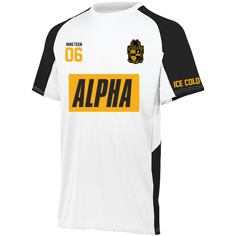 Alpha Phi Alpha Home Soccer Jersey - White - Letters Greek Apparel - Black Greek Paraphernalia - Divine Nine Greek Apparel - Atlanta Greek Store