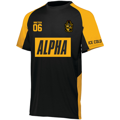 Alpha Phi Alpha Away Soccer Jersey - Black/Gold - Letters Greek Apparel - Black Greek Paraphernalia - Divine Nine Greek Apparel - Atlanta Greek Store