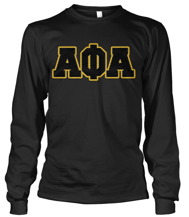 Alpha Phi Alpha Greek Letter Long Sleeve - Letters Greek Apparel - Black Greek Paraphernalia - Divine Nine Greek Apparel - Atlanta Greek Store