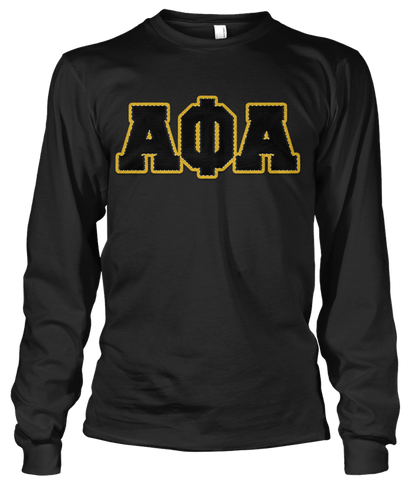 Alpha Phi Alpha Greek Letter Long Sleeve - Letters Greek Apparel - Black Greek Paraphernalia - Divine Nine Greek Apparel