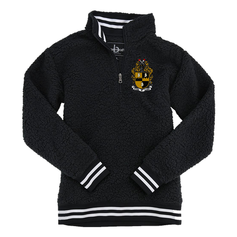 Alpha Phi Alpha Embroidered Sherpa Fleece Quarter-Zip Sweater - Letters Greek Apparel - Black Greek Paraphernalia - Divine Nine Greek Apparel - Atlanta Greek Store